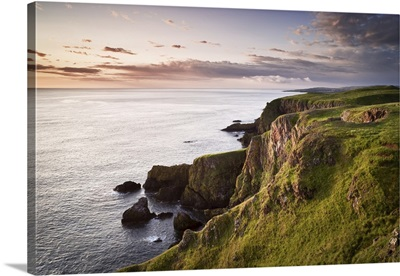 Overview Of Cliffs And Sea Stacks At Dawn, St. Abbs Head, Scotland