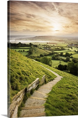 Overview Of Farmland, Somerset, England