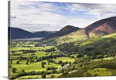 Overview Of Fields And Woodland, Lonscale Fell, Lake District, England