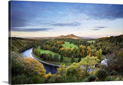 Overview Of River Tweed, Eildon Hills, Scottish Borders, Scotland