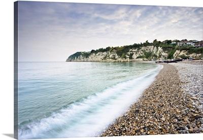 Overview Of Shingle Beach, Beer, Devon, England