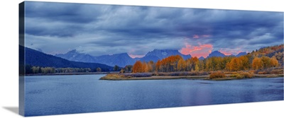 Oxbow Bend Of Snake River With Mt. Moran In Autumn, Grand Teton National Park, Wyoming
