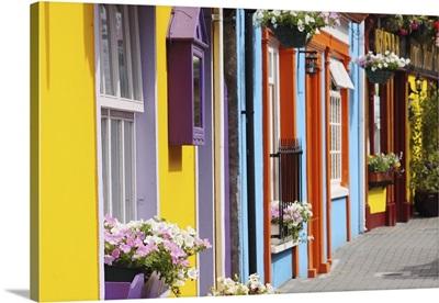 Painted Buildings On Main Street In Munster Region; Kinsale, County Cork, Ireland