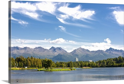 Panoramic view over Westchester Lagoon with the Chugach Mountains