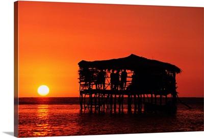 Pelican Bar At Sunset; Jamaica