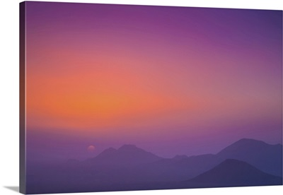 Pink And Purple Sky With Silhouetted Mountains, Namibia