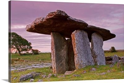 Poulnabrone Portal Dolmen In The Burren Region; County Clare, Ireland