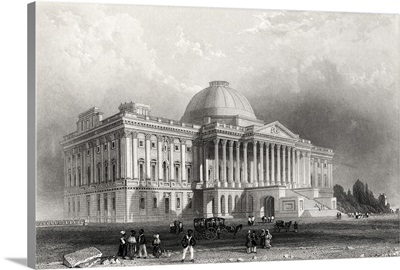 Principal Front Of The Capitol Building, Washington, From A 19th Century Print