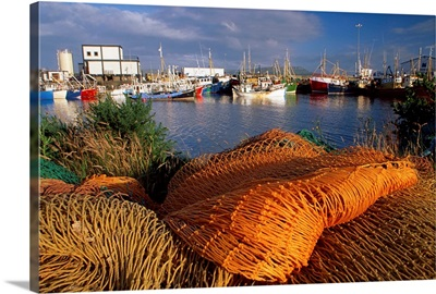 Quayside, Greencastle, County Donegal, Ireland; Fishing Nets And Boats