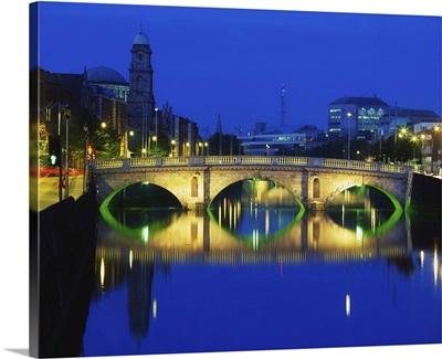 Queen's Street Bridge, River Liffey, Dublin, Ireland; Bridge Over River At Night