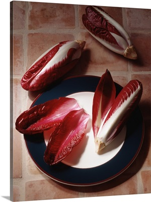 Radicchio hearts and leaves on a plate