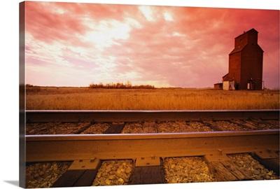 Railroad Track And Grain Elevator