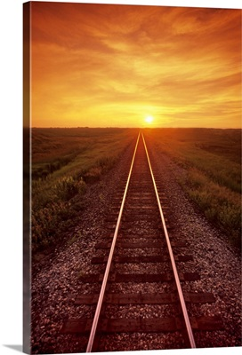Railway And Sunset, Near Winnipeg, Manitoba