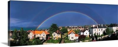 Rainbow Over Housing in Monkstown, County Dublin, Ireland
