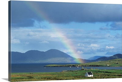 Rainbow Over Mountains, Ballinskelligs, Ring Of Kerry, County Kerry, Republic Of Ireland