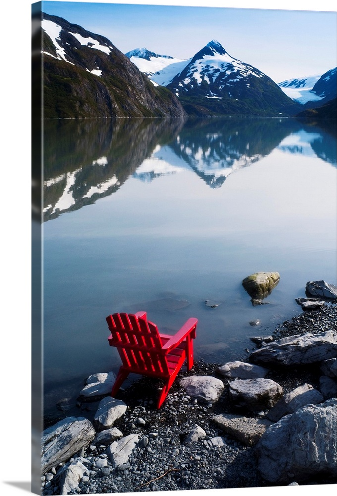 Red Adirondack Chair At Portage Lake With Chugach Mountains In The  Background