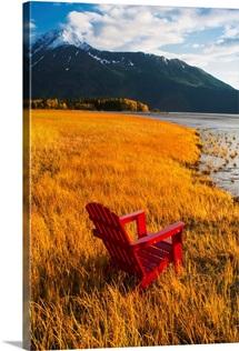 Red Adirondack chair, Southcentral Alaska