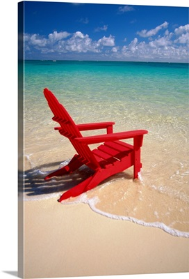 Red Beach Chair Along Shoreline, Turquoise Ocean