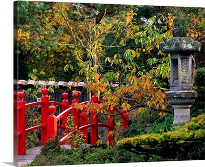 Red Bridge and Japanese Lanterns, Japanese Gardens, Co Kildare, Ireland