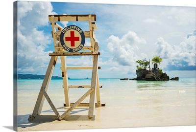 Red cross lifeguarding chair on Boracay beach, Boracay, Panay, Philippines