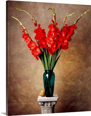 Red gladiolas in a vase on a pedestal