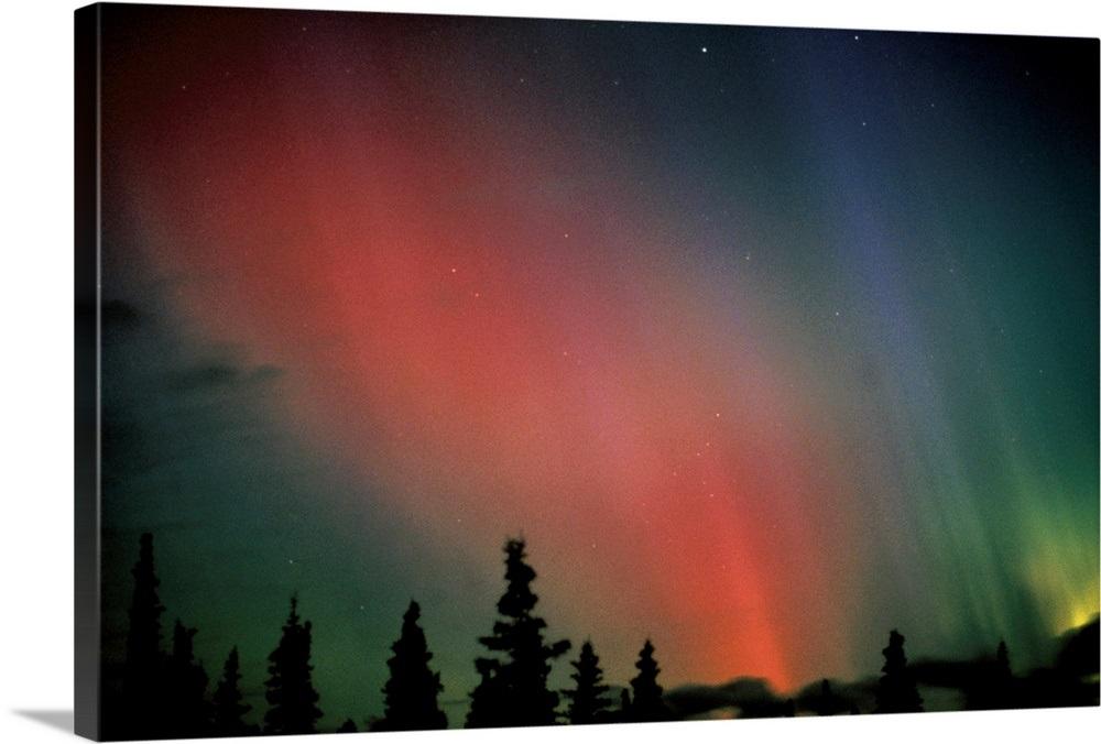 Red Amp Green Northern Lights Winter Alaska Wall Art Canvas