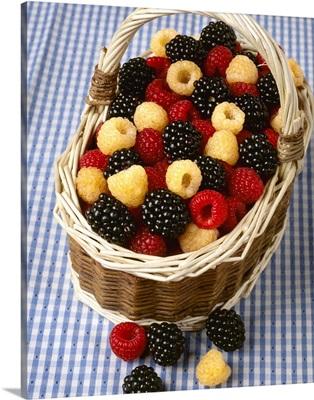 Red raspberries, golden raspberries and blackberries