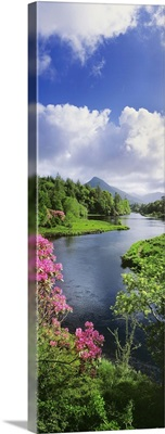 River Leading To A Mountain, Ballinahinch, Connemara, Republic Of Ireland