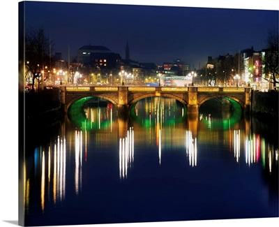 River Liffey At Night, O'Connell Street Bridge, Dublin, Ireland