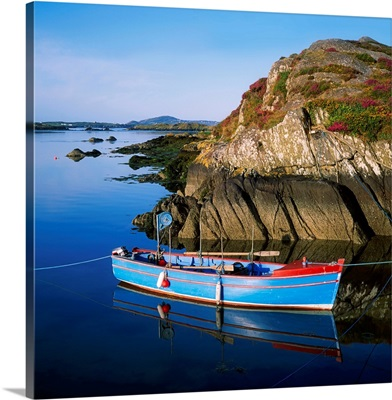 Roaringwater Bay, Co Cork, Ireland; Boat Near The Shore With Clear Island