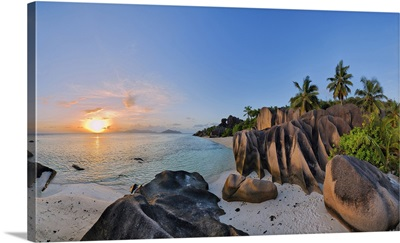 Rock Formations And Palm Trees At Sunset, Anse Source DoArgent, La Digue, Seychelles