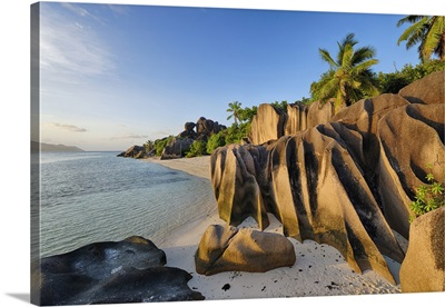 Rock Formations And Palm Trees Near Sunset, Anse Source DoArgent, La Digue, Seychelles