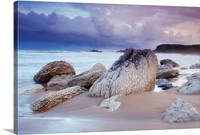 Rocks On The Beach During A Storm, Whitepark Bay, County Antrim, Ireland
