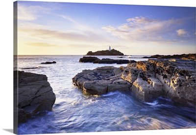 Rocky Coastline And Lighthouse, Godrevy Point, Cornwall, England