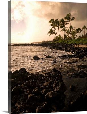Rocky Coastline, Poipu, Kauai, Hawaii
