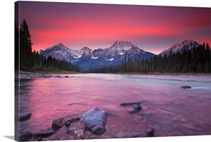 Rocky Mountains Athabasca River Jasper National Park Jasper Alberta Canada Wall Art Canvas