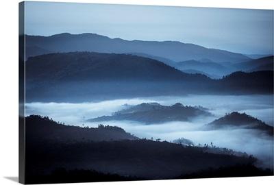 Rolling Hills In The Fog, Rwanda, Africa
