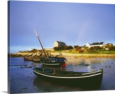 Roundstone, Connemara, County Galway, Ireland; Boats In Harbour With Rainbow