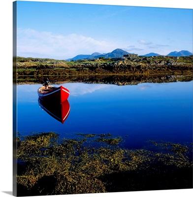 Roundstone, Connemara, County Galway, Ireland, Rowboat On Lake