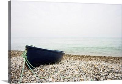 Rowing Boat On Shingle Beach, Devon, England
