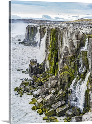 Rugged Rock Cliffs Along Jokulsa At Dettifoss Waterfall, Skutustadahreppur, Iceland