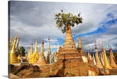 Ruined pagodas on Ingle Lake, Bhutan