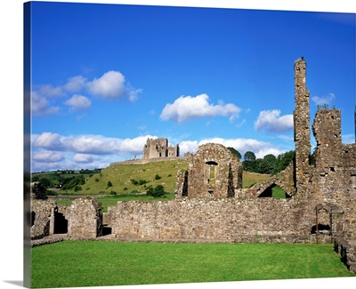 Ruins Of An Abbey With A Castle In The Background, Castle, Republic Of Ireland