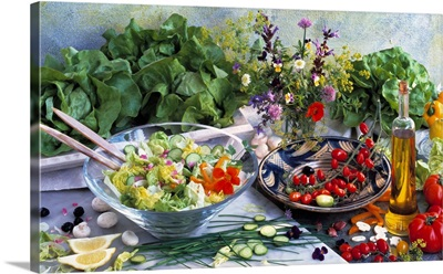 Salad still-life with vegetables and ingredients