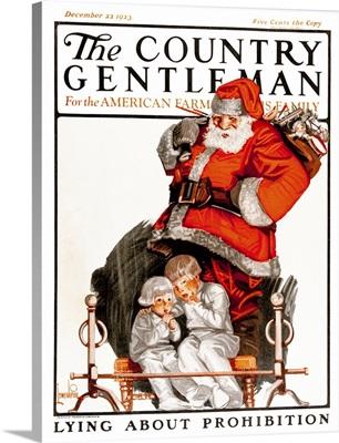 Santa Claus watches two children