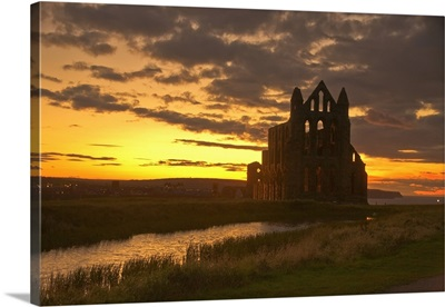 Scenic View Of A Building At Dusk, North Yorkshire, England