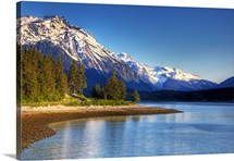 Scenic view of a lake and mountains near Haines, Alaska