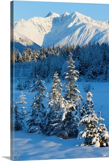 Scenic view of Chugach Mountains and snowcovered landscape, Southcentral Alaska, Winter