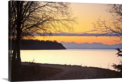 Scenic view of Cook Inlet along the Tony Knowles Coastal Trail at sunset