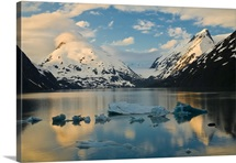 Scenic view of dawn over Portage Lake with icebergs in the foreground